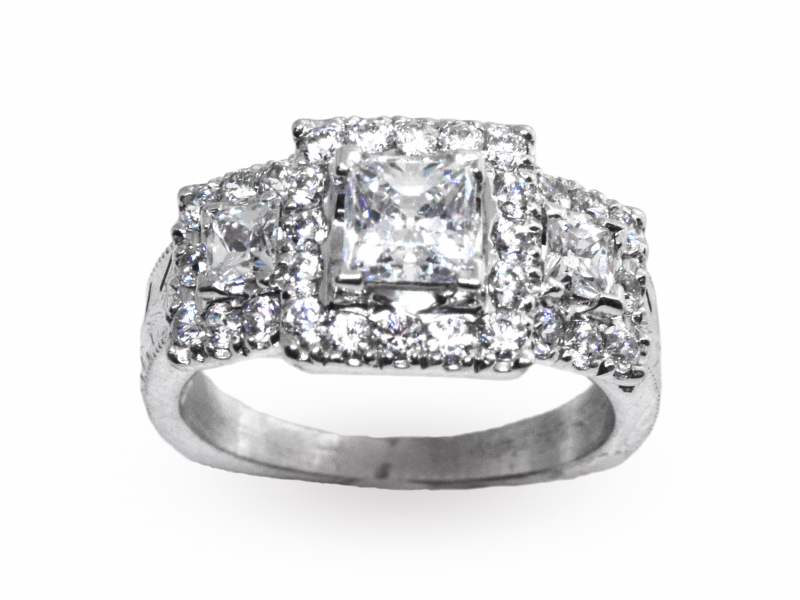 Sophia Three Stone Princess Semi-Mount Engagement Ring by John Wade
