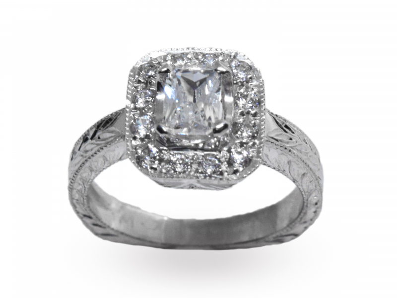 Penelope Halo Semi-Mount Engagement Ring  by John Wade
