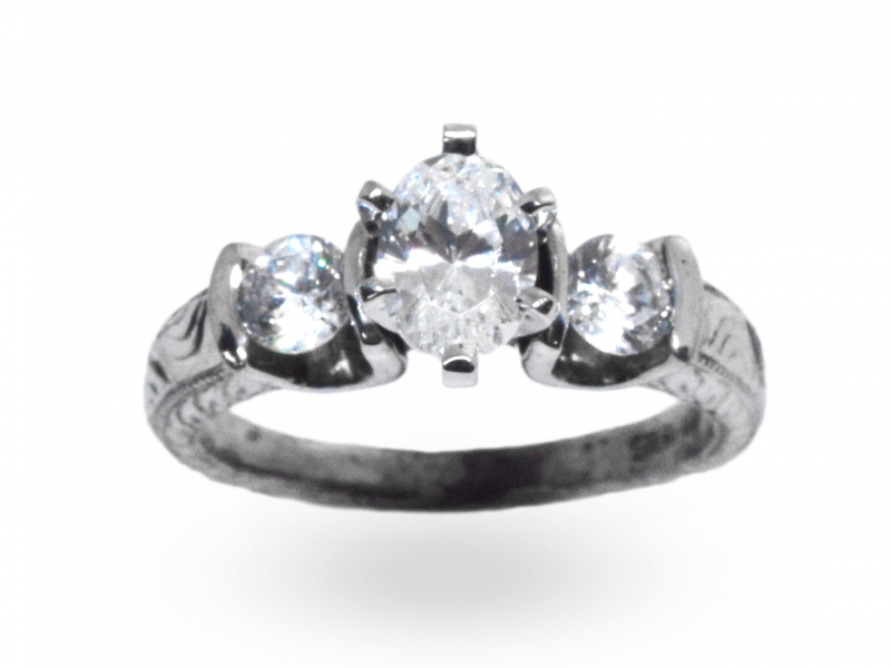 Brittany Three Stone Semi-Mount Engagement Ring by John Wade