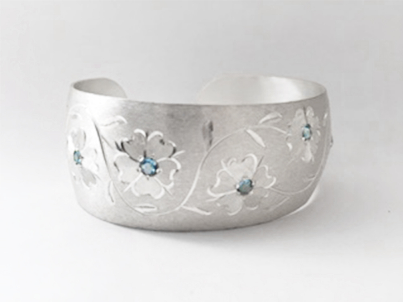 "North Carolina Dogwood Cuff Bracelet - Engraved 1"" by John Wade"