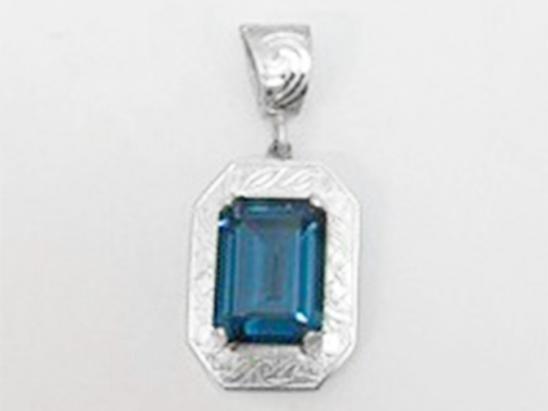 Swiss Blue Topaz Embossed Enhancer Bail Pendant by John Wade